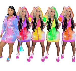 Brasão Mulheres Designers Hoodies vestidos longos Zipper Cardigan Casacos Cor Tie Dye com capuz Hoodie Jacket casacos longos Macacão Casacos D9102