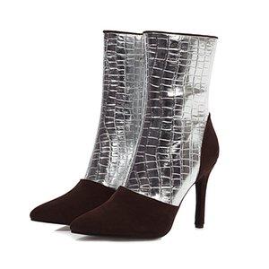Lucyever 2020 Autunno scarpe dei tacchi alti Donna Patent patchwork in pelle Scarpe a punta Stivaletti donne tacchi a spillo partito Botas