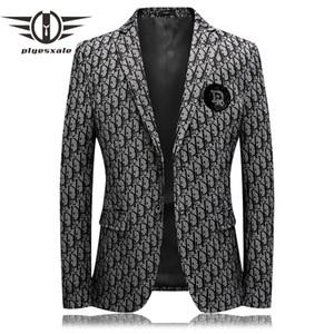 Plyesxale Marca Diamond Diseño Hombre Blazer 2020 macho Estilo británico ocasional adelgaza chaqueta de la chaqueta de alta calidad Prom Blazers Q87