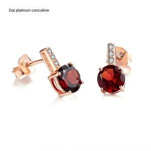 925 runde Garnet Lichtfarbe Ohrringe Silber und Schatz Sterling Garnet natürliche Roségold Mode Damen Ohrringe Ohrringe VyrSM