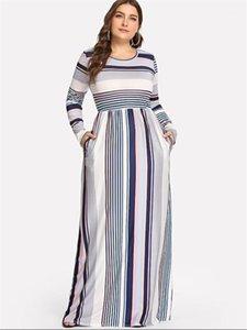 Beiläufige Kleider Art und Weise bunte Streifen-Druck Panelled Womens Designer-Kleider Casual Weibliche Kleidung Plus Size Womens