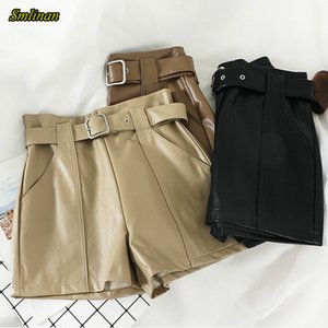 Smlinan Motociclista Pu Leather Shorts Mulheres roupas de verão Harajuku do punk Sexy de couro preto de cintura alta Curto Feminino Y200822
