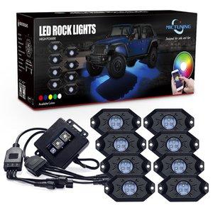 MICTUNING CM 8 Pods RGB LED Rock Lights Bluetooth Control Multicolor Neon Light Kit for J eep Truck Car ATV SUV Vehicle Boat