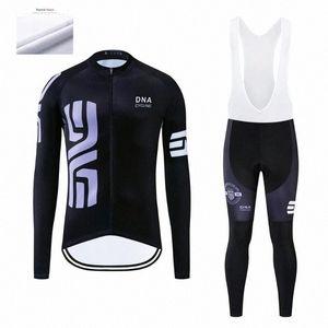 DNA велоспорт Мужской зима задействуя Джерси наборов Ropa Ciclismo термического руна Одежда Wear велосипед Брюки с гелевым проложенным XyUl #