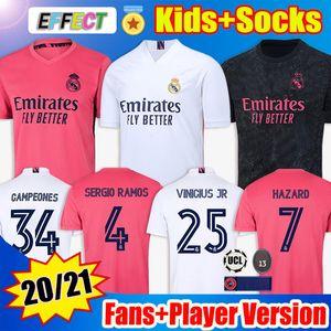 Camisas de futebol Real Madrid Soccer Jerseys 20 21 PERIGO MODRIC REINIE Camiseta 2020 2021 BALE ISCO EA Sports Fourth Jerseys RODRYGO Camisa de futebol crianças Meias Kids