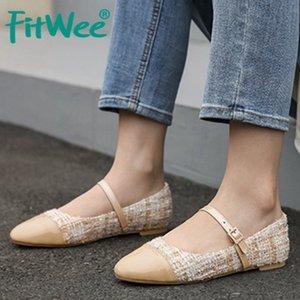 FITWEE Plus Size 30-46 Femmes Flats Patchwork Imprimer Chaussures à bout rond Femmes Mode Boucle Vintage Bureau Lady Casual Zapatos