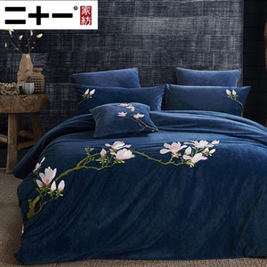Home Textiles Thickening Flannel Four Paper Set Embroidery Bedding Article Sheet Fund Short Lint Quilt Cover Keep Warm