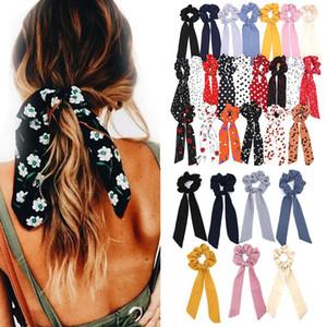 2020 Bow Ribbon Bohemian Polka Dot Floral Impresso Cabelo Scrunchies Mulheres Elastic Faixa de Cabelo Rabo lenço de cabelo Ties Acessórios