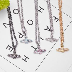 Rhinestone multicolor orbe colgante, collar de cristal de las mujeres órbita del planeta collar de cadena de joyería de moda Accesorios para el partido del regalo