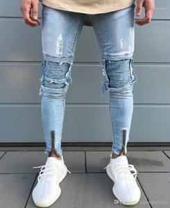 Цвет кнопки Мода Стиль Fold Повседневная одежда Летняя Hip Hop Брюки мужские Новые дизайнерские Hole Jeans Твердотопливные