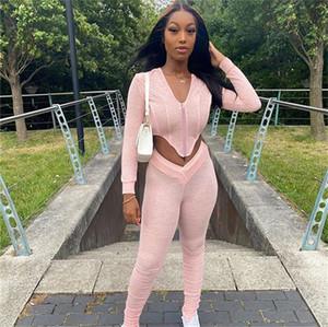 Kadınlar Yığın Pantolon Günlük Katı Renk Uzun Kollu V Yaka Fermuar Hırka İki Piece Kıyafetler Sonbahar Kadınlar Eşofmanlar Set