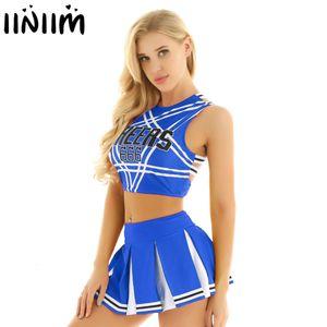 Mulheres Adulto Cheerleader Mini saia plissada Costume Set Sexy Japão / Fardas coreana School Girls Cosplay Halloween roupas extravagantes
