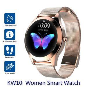 IP68 wasserdicht intelligente Uhr-Frauen-Schlaf-Monitoring-Puls-Monitor-Mode Schönen Smartwatch KW10 Armband für Android IOS Phone