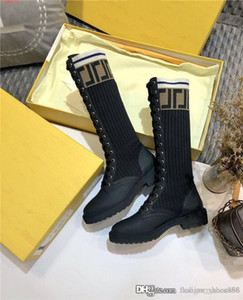 Womens Sock-like High Top Knee Boots Black Oblique Jacquard and Smooth Calfskin Booties Low heel boot Original high-end packaging