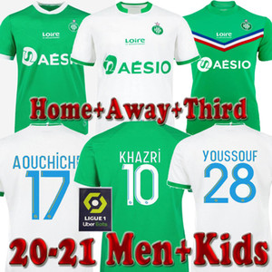 20 21 AS Saints-étienne Fußballjerseys maillot de foot Youssouf 2020 2021 Saint Etienne Khazri Boudebouz Fofana MAN KIDS KIT-Fußball-Hemd