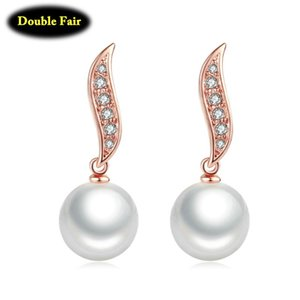 Big White Simulated Pearl Brand Vintage Earrings Rose Gold Color Cubic Zirconia Jewelry For Women Wedding DWE463