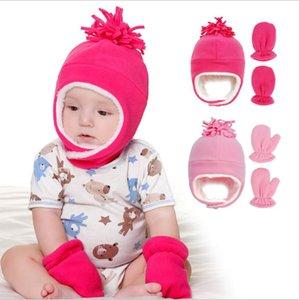 Bebek Kış Şapka Sıcak Kulak Muff Rus kalpağı Eldiven Açık Bebekler Polar Polar Şapka Kış Eagflag Kafatası Cap Yeni Boy Kız Beanie LSK990 ile