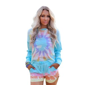 European and American Women's Long-Sleeved Tie-Dye Printed Hooded Homewear Set Two Piece Outfits T Shirt for Women X0923