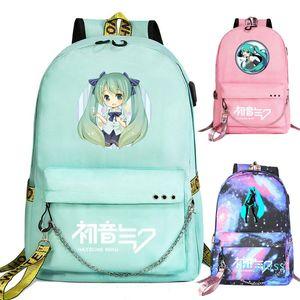 Designer- Nueva cadena linda USB Hatsune Miku Prints Niños Niñas Niños Escuela de las mujeres del bolso del recorrido del morral de lona de Men Bagpack Packsack Bookbag