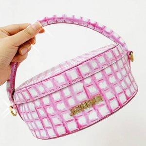 새로운-jacquemus 2020 새로운 틈새 디자인 분홍색 체크 무늬 패턴 휴대용 케이크 도시락 라운드 케이크 도시락 가방 PU 가죽 여성 가방