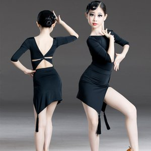 Fashion Latin Dance Costume Girls Tango Salsa Cha Cha Black Dress Rumba Samba Ballroom Practice Wear Kids Two Piece Set DCC269