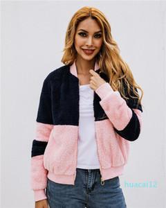 Hot Sale Sweatshirts Ladies Autumn Winter Coat Women Patchwork Hoodies With Zipper Pink And Black Plush Crew Neck