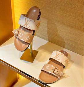 2019 yeni moda lüks tasarımcı kadın çevirme süper starlar kadınlar Klasik rahat ayakkabılar Kum sürükle için gerçek deri düz sandaletler yazdır flop