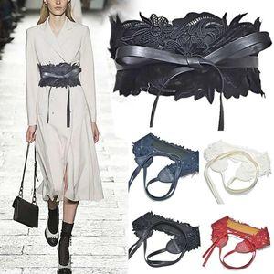 9.5cm Lace Waist Belt Women's Fashionable Wide Corset Waist Lace-ups Belt Bow Knot Buckle Waistband Belts Party Dress Accessory