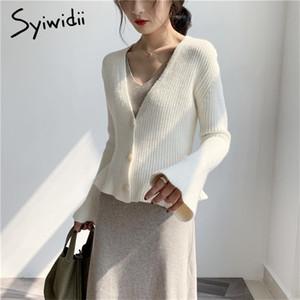syiwidii ropa de invierno suéter de las mujeres chaqueta de punto con cuello en V manga de la mariposa Botón suéteres de punto sólido de la manera de 2020 mujeres suéter 0925