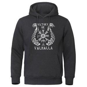 2020 Otoño Invierno Fleece Pullover caliente Streetwear informal con capucha de Viking leyenda Hombres Hoodies para hombre con capucha Valhalla Odin