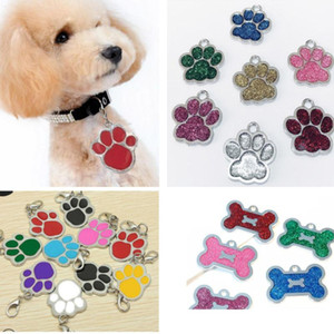 Dog Tag Engraved Cat Puppy Pet ID For Fashion Name Collar Tag Pendant Pet Accessories For Bone Glitter Footprint