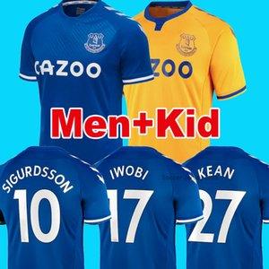 Everton 20 21 Soccer Jersey RICHARLISON KEAN SIGURDSSON Football 2020 Chemises 2021 TOSUN WALCOTT Everton Domicile Extérieur uniformes fixés pour enfants Kit hommes