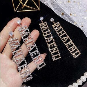 Coréia do Sul novas retangular carta de diamante e strass longo boate atmosfera moda jóias brincos brincos