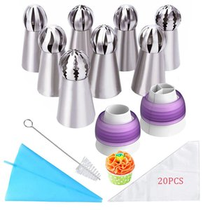 Russian Pastry Nozzles Set for Cream Stainless Steel Artistic Cake Decorating Icing Piping Tips Accessories Confectionery Tool Y200612