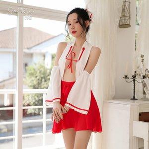 Exclusivo Sexy Witch doctor uniformes trajes de seducción lencería para mujer animado psíquico Cosplay trajes de kimono japonés de Halloween