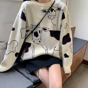 Vintage Casual Loose Lazy Cow Sweater Female Korean Harajuku Womens Sweaters Japanese Kawaii Cute Ulzzang Clothing For Women