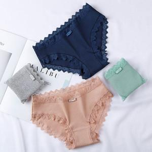 Romacci Women Solid Color Panties Breathable Thread Cotton Mid Rise Lace Trim Bowknot Comfortable Briefs Underwear Lingerie