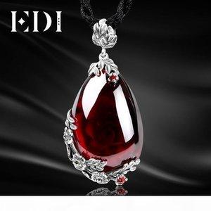 Edi Retro königliche Granat-Edelstein 100% 925 Sterlingsilber natürliche Chalcedon Halskette der Frau Fine Jewelry C19041201