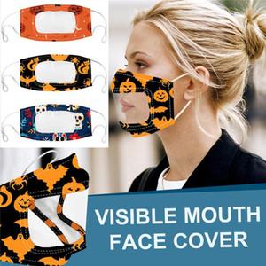 2020 sichtbare Gesichtsmaul-Deckel Maske für Gehörlose und stummschalten Halloween-Party-Masken Flora-Druck-verstellbarer Olop-Erwachsener Baumwolle-Gesichtsmasken FY9188