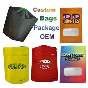 Maylar Sacs à glissière à fermeture à glissière Sèche Herb Emballage Sac Edibles Retail Sac à glissière Sacs à glissière pour enfants Sacs de finition Plastic personnalisé Logo Candy Pochette à glissière vide