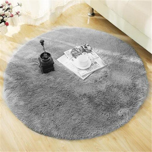 Redondo macio tapete Tapetes for Living Room Decor Faux Fur Tapetes Crianças Long Room Plush Tapetes para Quarto Shaggy tapete de área Modern Mats