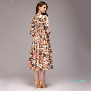 Venta caliente vestido de la manera 2019 nuevas mujeres del vestido de la rodilla-longitud ocasional elegante de la impresión del O-cuello del A-line Vestidos las mujeres otoño inferior