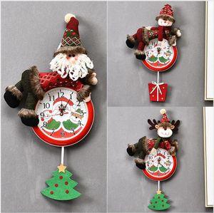 Hanging Christmas Clock Babbo Natale del pupazzo di neve di Natale Hanging Orologio da parete Merry Xmas Home Ristorante Camera Clocks Decoration LJJP295