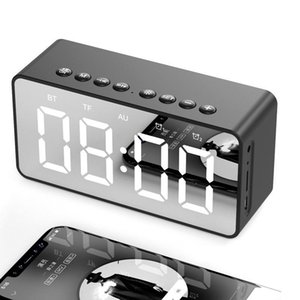Cgjxs Bt506 haut-parleur portable Bluetooth avec horloge réveil Super Bass sans fil Caisson de graves Haut-parleurs stéréo Miroir alarme pour téléphone ordinateur