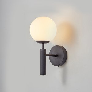 Modern Glass Ball Wall Lamp For Bedroom Home Decoration Bedside Study Read Lights Bronze Black Stairs Lighting AC85-265V