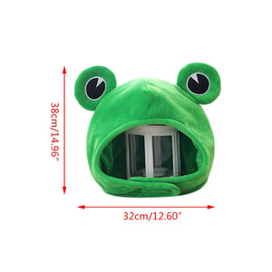 Funny Big Frog Eyes Cartoon Plush Hat Toy Green Headgear Cap Cosplay Costume E15E