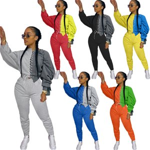 RStylish Women's Set Long Sleeve Patchwork Lace-Up Sweater Top Pencil Pants Suit Active Wear Tracksuit Two Piece Sets Outfits