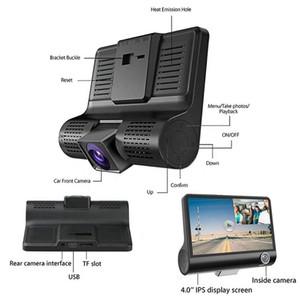 Freeshipping HD Night Car Dvr Dash Cam 4.0 Inch Video Recorder Auto Camera 3 Camera Lens With Rear View Camera Registrator Dashcam DVRs