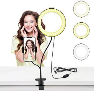 LED Selfie Ringlicht mit Flexible Long Arm Handyhalter Makeup Desktop-Clip USB-Ring-Lampe für Tiktok Youtube Live Video 4 6 8 Zoll