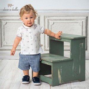 DB13136 Dave bella yaz erkek bebekleri moda baskı cepler giyim setleri çocuk yakışıklı kısa kollu setleri çocuk 2 adet 9PP9 # uyacak